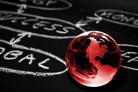 Flowchart on a chalk board with world globe showing America Stock Photo - 13247077