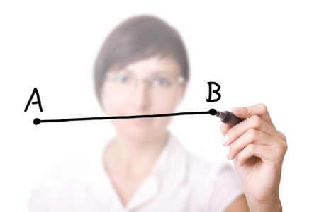 letter b: Woman drawing a line from point A to point B  selective focus   Businesswoman with pen in virtual whiteboard
