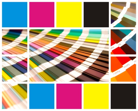 Pantone y el color CMYK en el hermoso collage photo