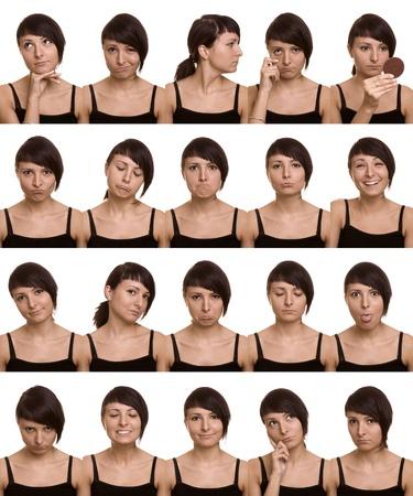 gezichts uitdrukkingen: De duizend gezichten van de acteur Nuttig gezichtsuitdrukkingen op een witte achtergrond