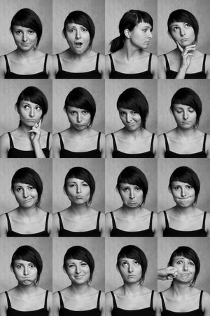 The thousand faces of the actor  Useful facial expressions over white background  photo