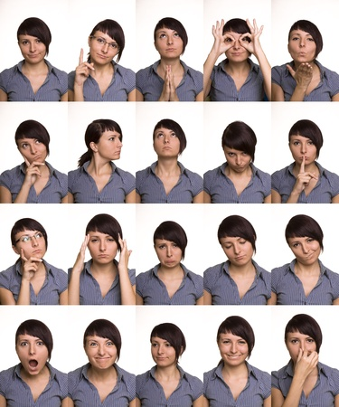 multiple choice: The thousand faces of the actor  Useful facial expressions over white background