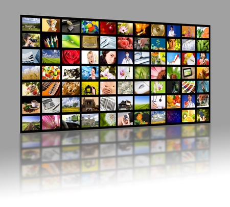 video wall: LCD TV panels  Television production technology concept