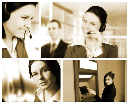 Conceptual image-grid of business photos photo