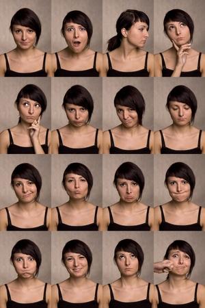 collage caras: Las mil caras de los actores útiles las expresiones faciales sobre fondo blanco