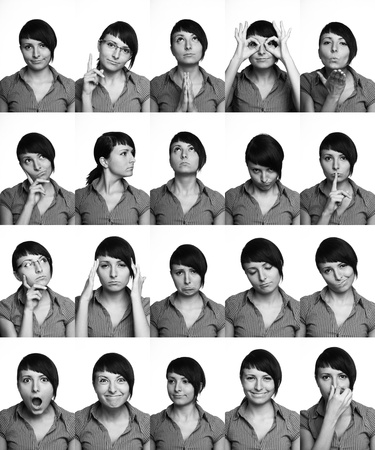 collage art: The thousand faces of the actor  Useful facial expressions over white background