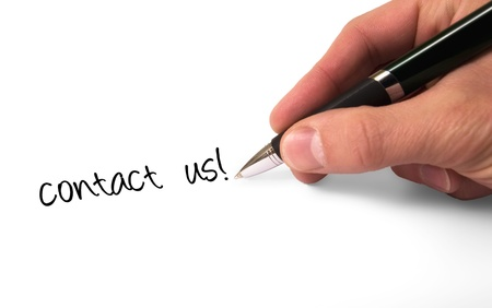 paper and pen: Fountain pen writing Contact Us  Stock Photo