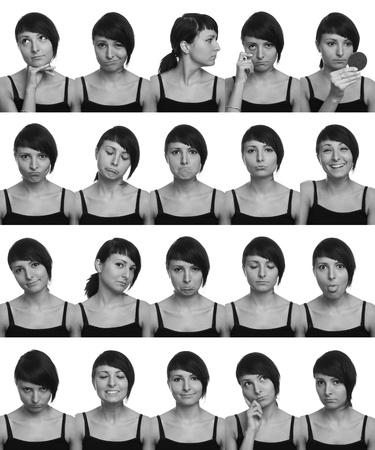 I mille volti delle espressioni facciali degli attori utili su sfondo bianco