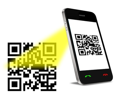 upcode: Mobil phone reading QR code  Isolated on white