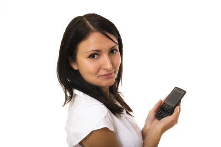 Woman holding phone on white background photo