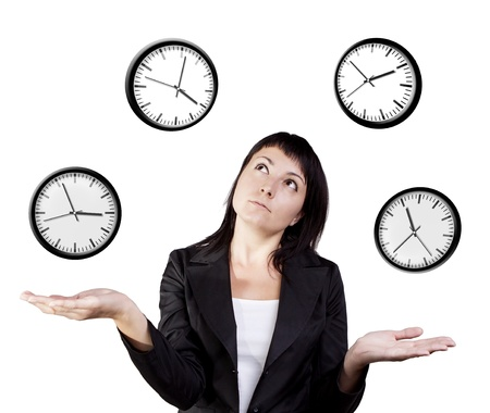 bussines people: A young woman juggling the management of time  Isolated on a white background