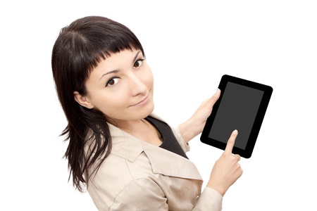 Woman using digital tablet computer isolated on white background