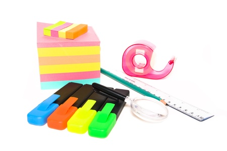 Assorted back to school office supplies on white background - pens, pencils, sticky notes Stock Photo - 15056905