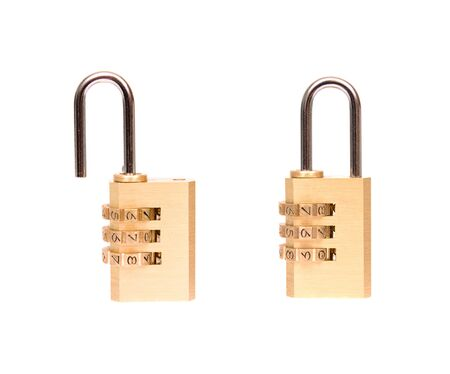 padlock opened and closed in white background Stock Photo - 15056903