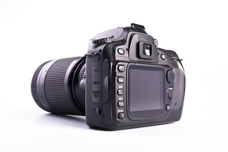 mounted: Een DSLR camera gemonteerd met een pro lens standaard zoom