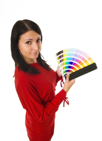 object print: Stock photo of a young woman holding color guide Stock Photo