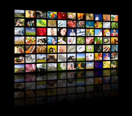 high definition television: LCD TV panels  Television production technology concept