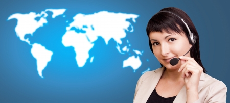 confident consultant: Customer support over the world map