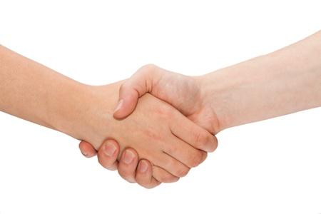 mani che si stringono: Handshaking Donna e uomo isolato su bianco