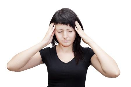 dolor de o�do: Mujer joven que sufre de tinnitus Todos aislados sobre fondo blanco