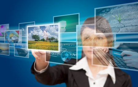 hand reaching images streaming from the deep  Stock Photo