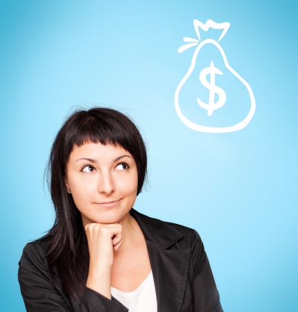 Beautiful young woman think about money on blue background