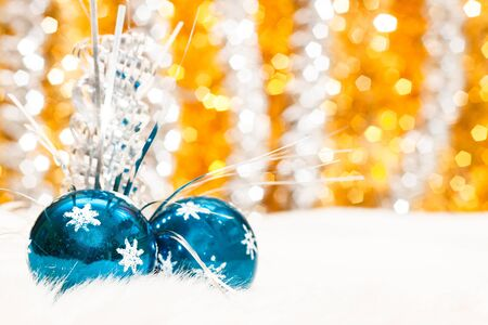 Christmas baubles on background of defocused lights Stock Photo - 15844208