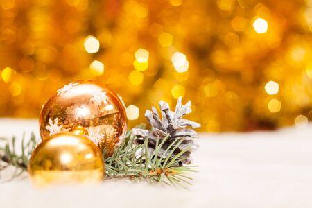 dof: Christmas baubles on background of defocused lights