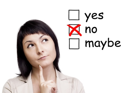 A portrait of a young woman trying to make a decision over white background Stock Photo - 15844182