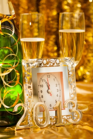 new year still life with clock