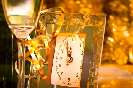 gold flute: new year still life with clock