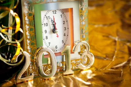new year still life with clock photo