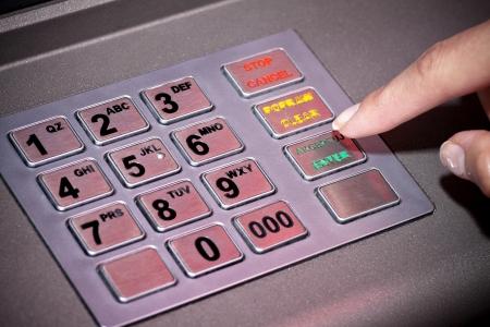 ATM machine toetsenbord nummers invoeren Geldautomaat pincode Stockfoto