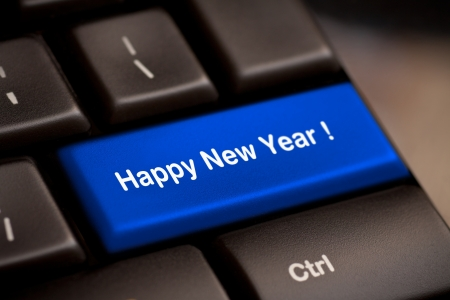happy new year message, keyboard enter key Stock Photo - 16200890