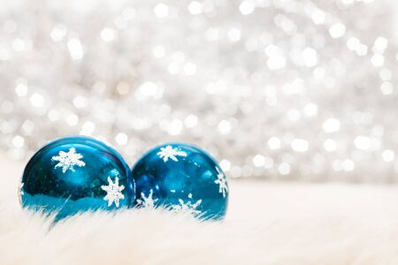 Christmas baubles on background of defocused lights Stock Photo - 16200913