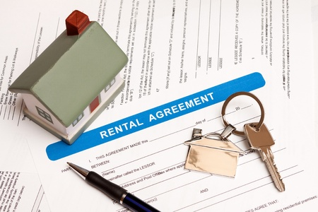 Close up of lease agreement empty document with pen Stock Photo
