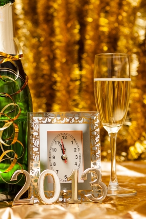 new year still life with clock Stock Photo - 16508241