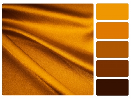 complimentary: gold satin colour palette with complimentary swatches