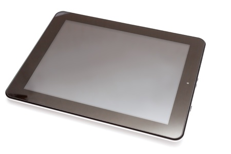 Realistic tablet pc computer with blank screen isolated on white background  photo