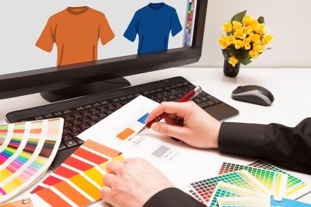 Graphic designer at work  Color samples Illustration picture Stock Illustration - 17992114