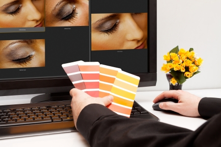 Graphic designer at work  Color samples  Photo picture woman eye and skin photo