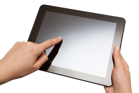 hands holding a tablet with isolated screen  photo