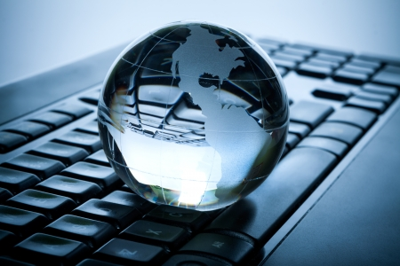 international internet: Globe and keyboard