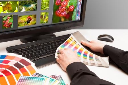 artistas: Dise�adora gr�fica en color de las muestras de trabajo de fruta Foto imagen y naturaleza