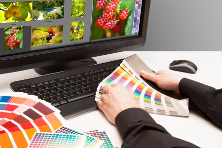 printer drawing: Graphic designer at work  Color samples  Photo picture fruit and nature Stock Photo