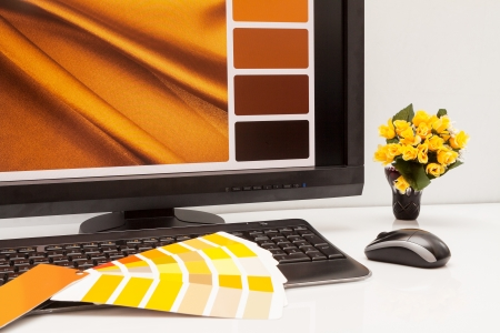 Graphic designer at work  Color samples  Brown, yellow images Stock Photo - 18350674