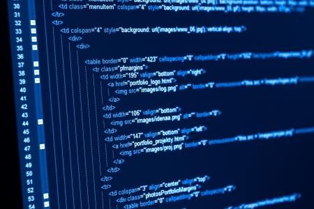 javascript: C�digo de programa en un monitor Foto de archivo