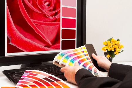 printer drawing: Graphic designer at work  Color samples  Red rose Stock Photo