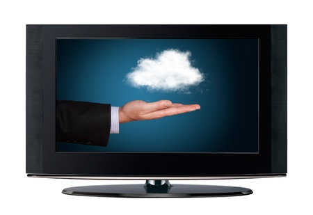 Television cloud computing isolated on white background photo