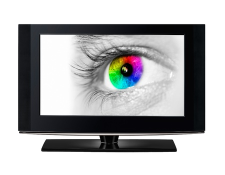 flatscreen: Modern HD TV showing a color eye